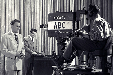 Billy Graham films an early telecast for The Hour of Decision TV program.