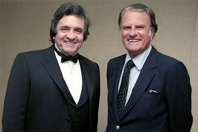 "Johnny Cash on his good friend Billy Graham, ""I have never known a greater man among men. Yet his simplicity, his common touch, his childlike compassion for his fellow man is the source of his greatness."""