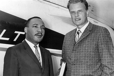 Dr. Martin Luther King Jr. and Billy Graham met in Chicago in 1962. They discussed racial equality at key moments in the civil rights struggle.