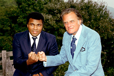 Billy receives a visit at his Montreat home from boxing great, Muhammad Ali.