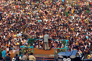 In March 1973, Billy Graham preached to 60,000 people in Johannesburg. It was the largest multiracial gathering ever held in South Africa at that time.