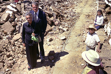 Billy and Ruth Graham walked through the rubble in a Guatemalan village they aided with jet loads of food and medicine after a devastating 1976 earthquake.
